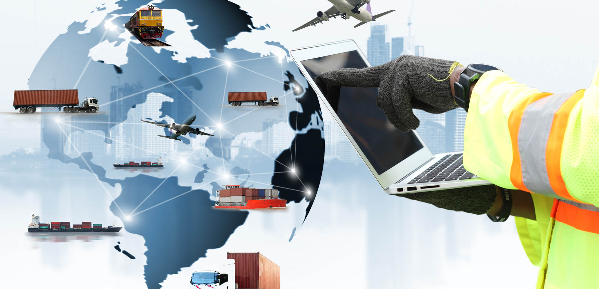 Double exposure of man with  logistic network distribution on background and Logistics Industrial Container Cargo freight ship for shipping and Transportation, import-export